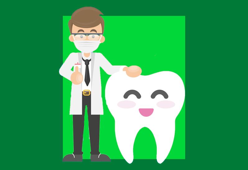 ilustração de dentista fazendo carinho em um dentinho sorrindo